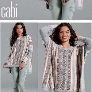 Cabi Women's sz L isle striped poncho sweater